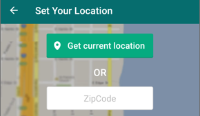 "Screenshot showing ""Get current location"" button and the ZIP code entry field."