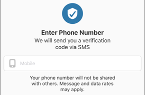 Screenshot of Enter Phone Number screen and input field