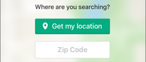 Screenshot of the Get my location button and Zip code field