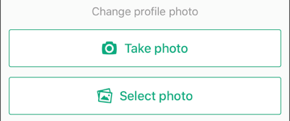 Screenshot of Take photo and Select photo buttons