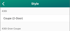 Screenshot of the Style selector.
