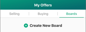 Screenshot of My Offers and the Create New Board option.