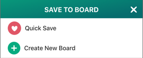Screenshot of Save to Board and the Create New Board option.