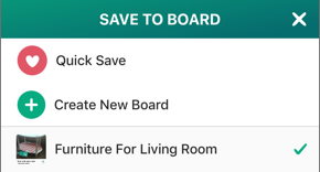 Screenshot of Save to Board screen, with a checkmark next to a board name.