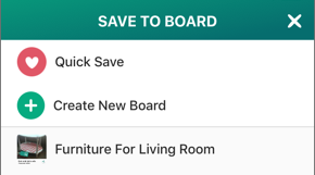 Screenshot of the Save to Board menu.