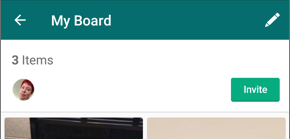 Screenshot of a board and the Invite button.