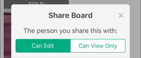 Screenshot of the Share Board access options.