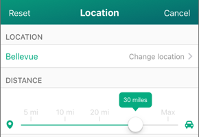 Screenshot of location selection screen.