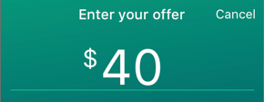 Screenshot of the Enter your offer field.