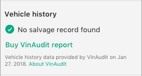 "Screenshot saying ""Vehicle history: No salvage record found."""