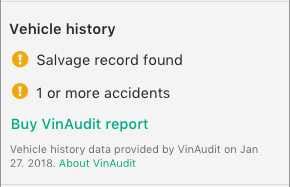 "Screenshot saying ""Vehicle history: Salvage record found"" and ""1 or more accidents."""