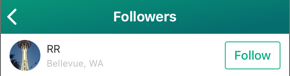 Screenshot of the Followers screen, showing an OfferUp member's name and city, along with a Follow button.