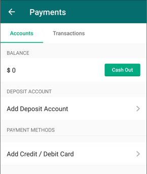 Screenshot showing Accounts tab on Payments page. Under Payment Methods, button reads: Add Credit / Debit Card.