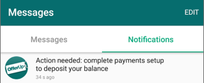"Screenshot of a notification reading ""Action needed: complete payments setup to deposit your balance."""