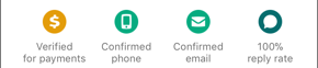Screenshot of badges on a profile page, including Verified for payments, Confirmed phone, Confirmed email, and 100% reply rate.