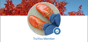 Screenshot of the profile photo on a user's profile page, showing the TruYou Member icon in the lower right.