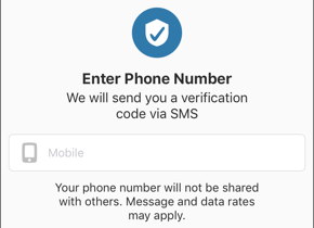 Screenshot of the Enter Phone Number field.