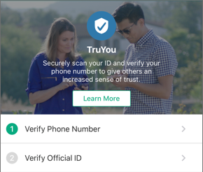 Screenshot of the Join TruYou page and the links to Verify Phone Number and Verify Official ID.