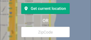 "Screenshot of the Set location screen, with the ""Get current location"" button and the ZIP code entry field."