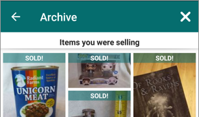 Screenshot of the top of the Archive page in Offers > Selling, in the OfferUp app.