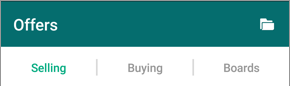 Screenshot of the top of the Offers page in the OfferUp app. Selling is the first of three tabs.