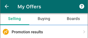 Screenshot of the My Offers screen and the promotion results link.