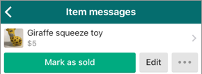 Screenshot of the Item messages for the item the person has posted for sale, which includes the Edit button.