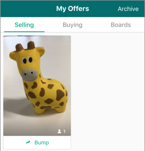 Screenshot of the Offers screen, on the Selling tab, showing an item the person has posted for sale.