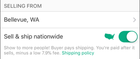 Screenshot of the Sell & ship nationwide toggle.