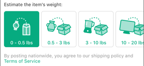 Screenshot showing options for estimating an item's weight, including 0-0.5 pounds, 0.5-3 pounds, 3-10 pounds, and 10-20 pounds.